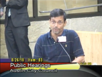 Austin's Activist Desmond D'Souza testifies against water rate hikes.