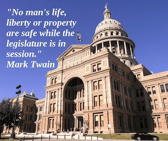 Do you think Mark Twain writing about the Texas Legislature?